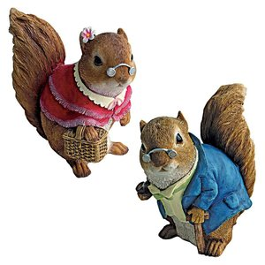 Grandmother and Grandfather Squirrel Statues: Set of Two
