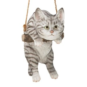 Gray Tabby Kitty on a Perch Hanging Cat Sculpture