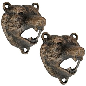 Grizzly Bear of the Woods Cast Iron Bottle Opener: Set of Two