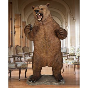 Growling Grizzly Bear Life Size Statue