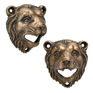 Growling Lion Cast Iron Bottle Opener: Set of Two
