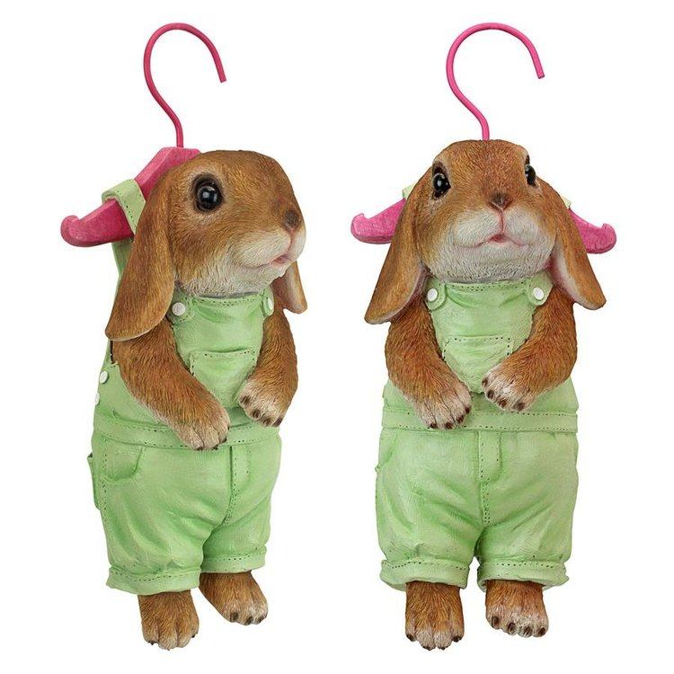 View larger image of Hanger Hare Hanging Bunny Rabbit Statue: Set of Two