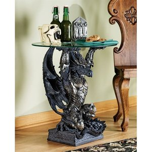 Hastings, the Warrior Dragon Glass-Topped Table