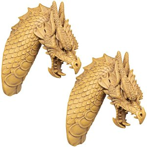 Head of the Beast Dragon Wall Sculpture: Set of Two
