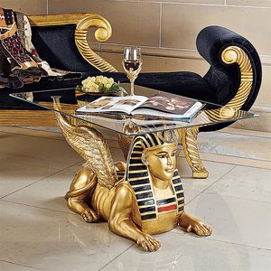 Golden Egyptian Sphinx Glass-Topped Sculptural Table