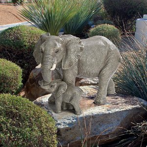 Herd Mentality Mother and Calf Elephant Statue