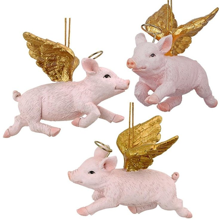 View larger image of Hog Heaven: Flying Pig Angel Holiday Ornament: Set of Three