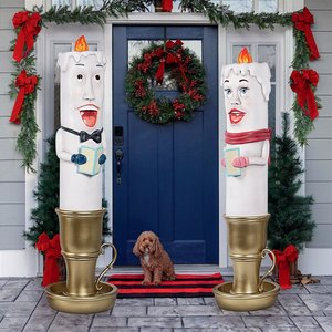 Holiday Luminaries Welcoming Candle Door Sentry Statues: Set of Two