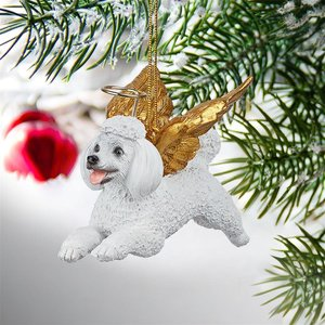 Honor the Pooch: White Poodle Holiday Dog Angel Ornament