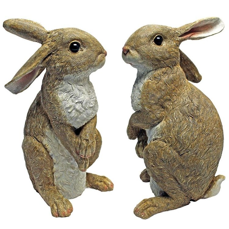 View larger image of Hopper, the Bunny, Standing Garden Rabbit Statue: Set of Two
