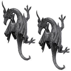 Horned Dragon of Devonshire Wall Sculpture: Set of Two