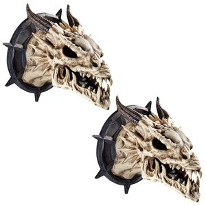 Horned Dragon Skull Wall Trophy: Set of Two