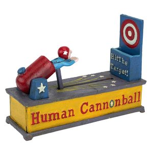 Human Cannonball Die-Cast Iron Mechanical Coin Bank