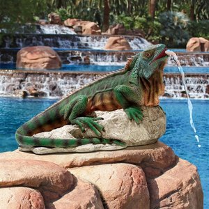 Ike, the Iguana Spitter Piped Statues