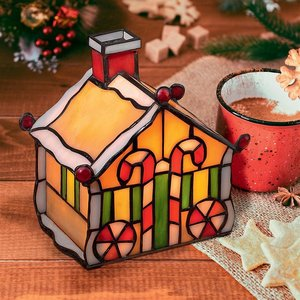 Illuminated Stained Glass Gingerbread House Lamp