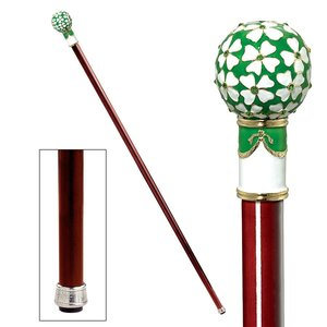 The Imperial Collection: Four Leaf Clover Enameled Walking Stick