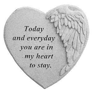 In My Heart to Stay: Angel Wing Cast Stone Memorial Marker
