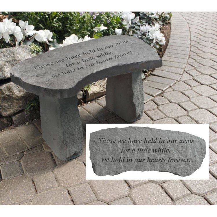 View larger image of In Our Hearts Forever Cast Stone Memorial Garden Bench