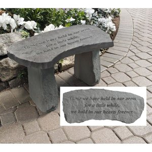 In Our Hearts Forever Cast Stone Memorial Garden Bench