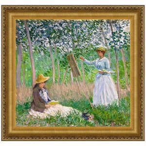 In the Woods at Giverny: With Hosched Sisters, 1887: Canvas Replica: Medium