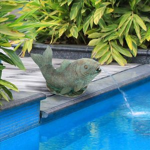 Japanese Koi Piped Spitter Statue