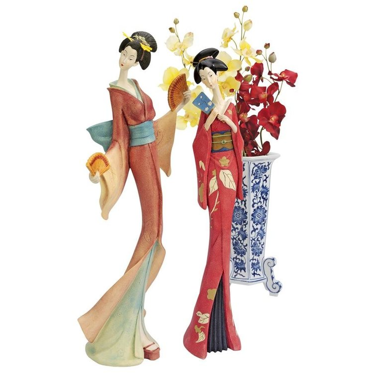 View larger image of Japanese Maiko Geisha Fan Dancer Statues: Set of Two