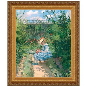 Jeanne in the Garden, Pontoise, 1872: Canvas Replica Painting: Grande