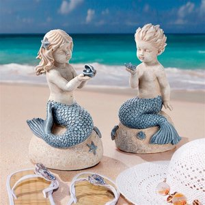 Jewels of the Deep Girl and Boy Mermaid Statues: Set of Two
