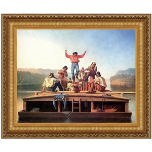 Jolly Flatboatmen in Port, 1857: Canvas Replica Painting: Large
