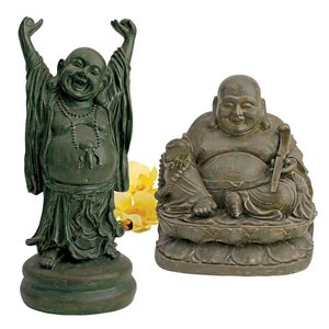Jolly Hotei and Laughing Buddha Sanctuary Statue Set