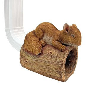 Jolly the Squirrel Gutter Guardian Downspout Statue