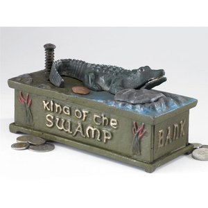 King of the Swamp: Alligator Authentic Foundry Iron Mechanical Bank