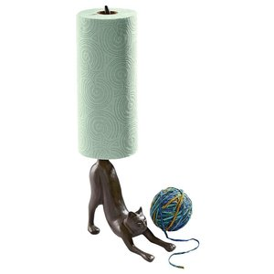Kitty Crouch Cast Iron Paper Towel Holder Cat Statue