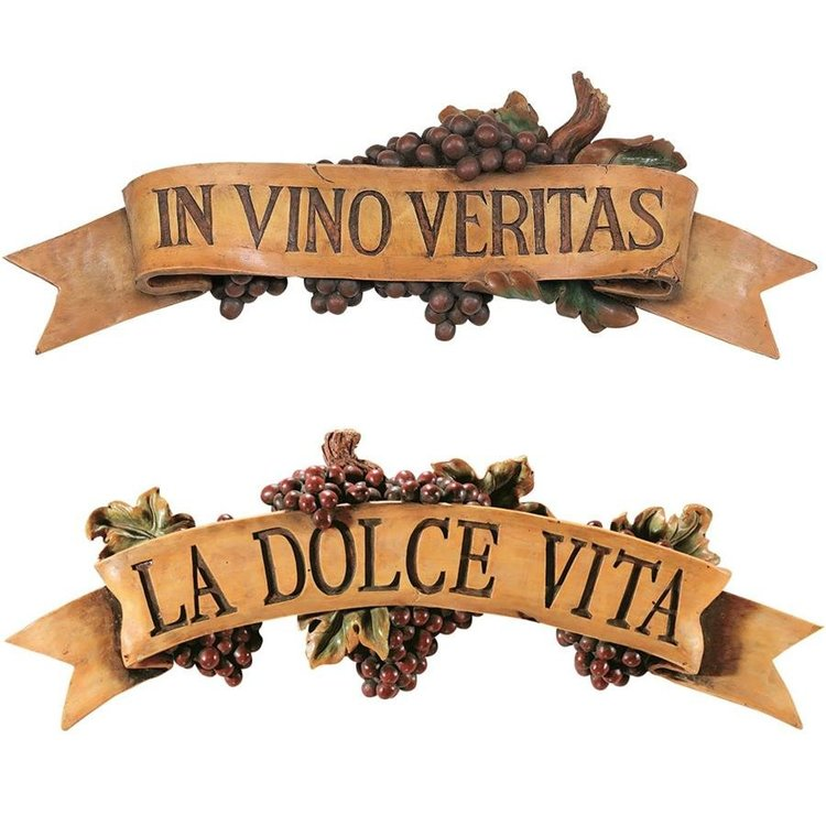 View larger image of La Dolce Vita and In Vino Veritas Sculptural Wall Plaques