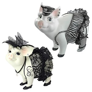 Lace and Lard and Porker on Patrol Pig Statues