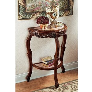 Lady Juliet's Marble-Topped Hardwood Console Table