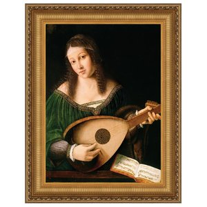 Lady Playing Lute Canvas Painting Small