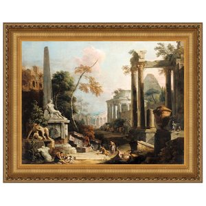 Landscape with Classical Ruins and Figures, 173: Canvas Replica Painting: Medium