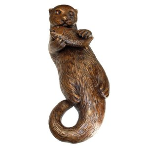 Lazy Otter with Fish Cast Bronze Garden Statue