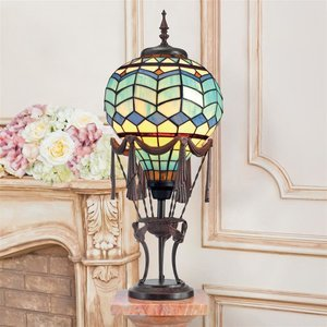 Le Flesselles Hot Air Balloon Illuminated Stained Glass Statue