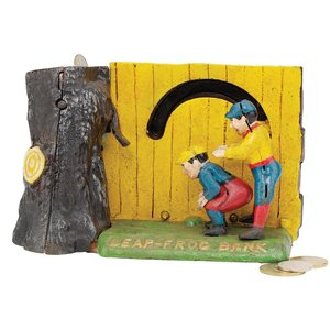 Leap Frog Die Cast Iron Mechanical Bank