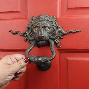 Lion and the Snake Cast Iron Foundry French Royalty Decorative Door Knocker
