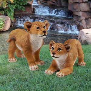 Lion Cubs of the Sahara Animal Statues: Complete Set