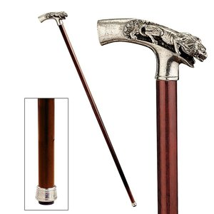 The Padrone Collection: Lion on Mountain Pewter Walking Stick