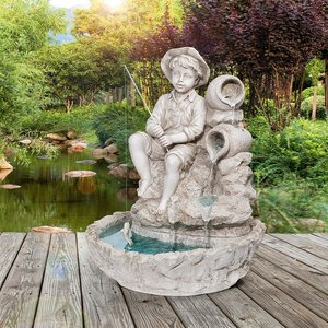 Little Fisherman at the Fishin' Hole Sculptural Fountain