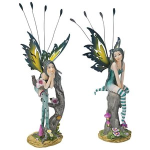 Lochloy House Fairy Twins Statues