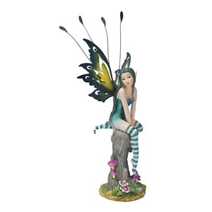Lochloy House Striped Stockings Fairy Statue
