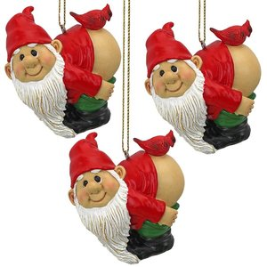 Loonie Moonie Gnome Holiday Ornament: Set of 3