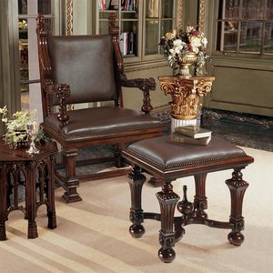 Lord Cumberland's Throne Chair and Foot Stool Set