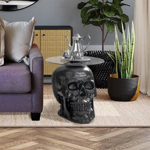Lost Souls Gothic Skull Glass-Topped Table: Black